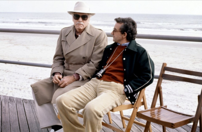 Burt Lancaster ve Louis Malle Atlantic City setinde 1980.