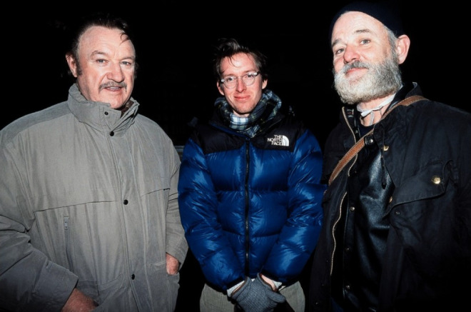Gene Hackman, Wes Anderson & Bill Murray The Royal Tenenbaums setinde (2001).