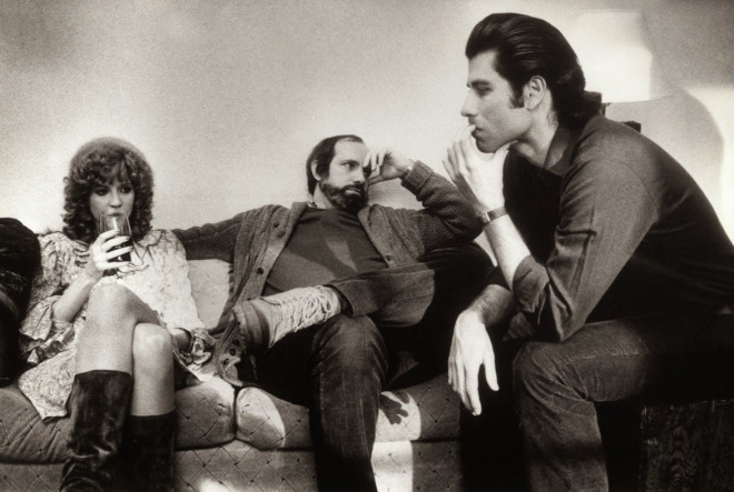 Nancy Allen, Brian De Palma ve John Travolta, Blow Out setinde, 1981.