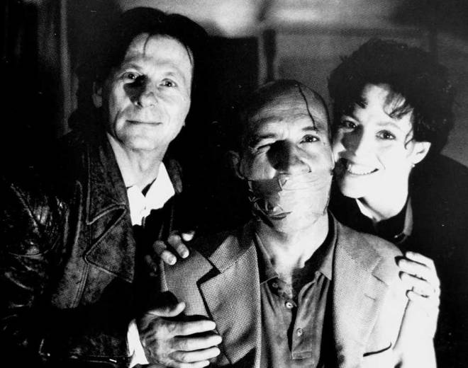 Roman Polanski, Ben Kingsley ve Sigourney Weaver, Death and the Maiden setinde (1994).