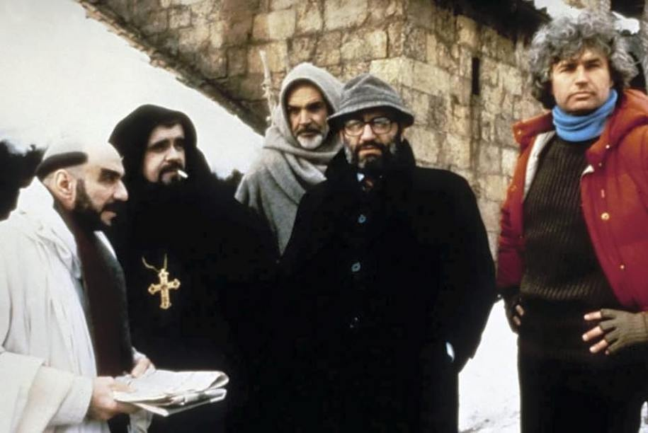 "Umberto Eco, Sean Connery ve Jean-Jacques Annaud  ""The Name of the Rose"" Gülün Adı filminin setinde! (1986)"